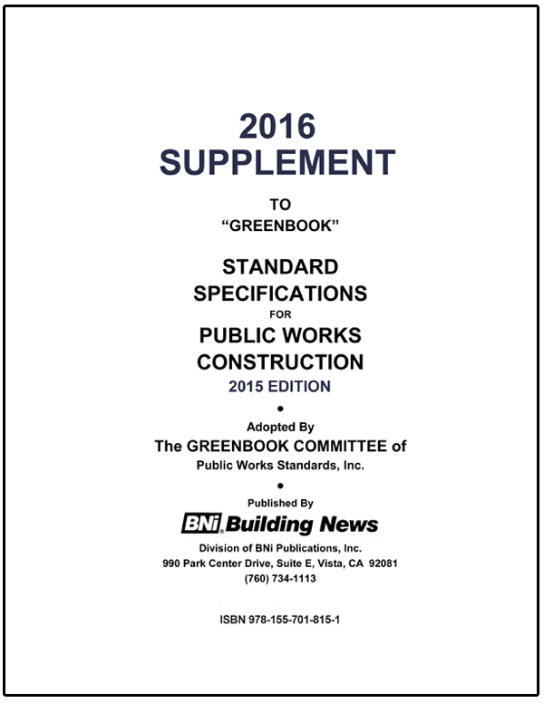 Greenbook Standard Specifications Supplement - 2016