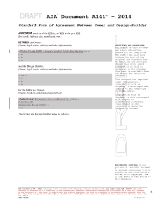 AIA - A141-2014 Standard Form of Agreement Between Owner / Design Builders