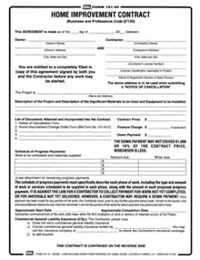 BNi Form 101HI: Prime Home Improvement Contract  Construction Contract Forms