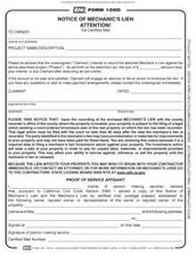 BNi Form 105D: Notice of Mechanic's Lien