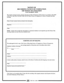 BNi Form 105N: Notice of Recording Notice of Completion or Notice of Cessation