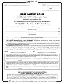BNi Form 108: Stop Notice Bond