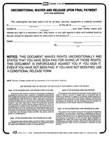 BNi Form 110UF: Unconditional Waiver and Release Upon Final Payment