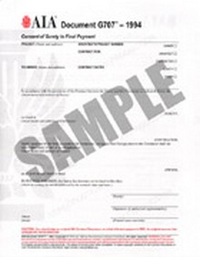 AIA - G707-1994 Consent of Surety to Final Payment Form - Package of 50